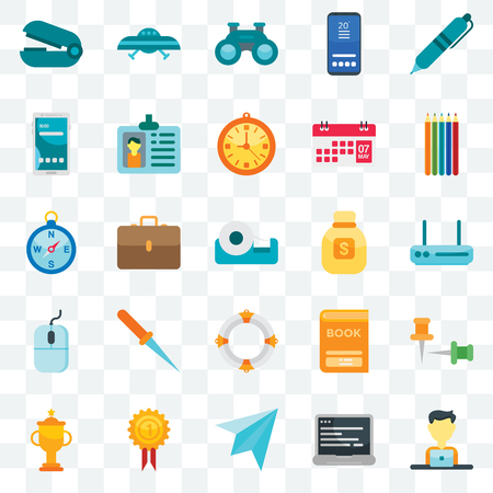 Set Of 25 transparent icons such as Employee, Laptop, Paper plane, Medal, Trophy, Pencils, Money bag, Lifebuoy, Mouse, Smartphone, Binoculars, Ufo, web UI transparency icon pack Vettoriali