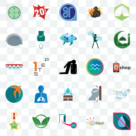 Set Of 25 transparent icons such as no water, preschool, cash on delivery, eco club, veteran, masjid, aquarius, water resistant, swift, hedgehog, er, 20% off, web UI transparency icon pack