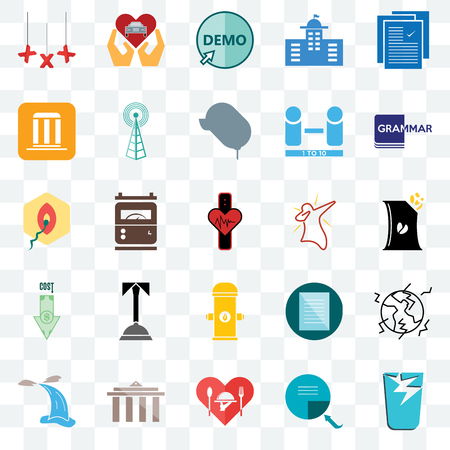 Set Of 25 transparent icons such as broken glass, bag of chips, grammar, car dealer, waterfall, cell tower, specification, penetration, web UI transparency icon pack, pixel perfect