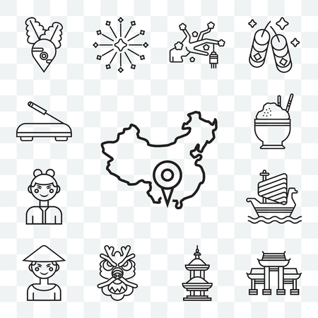 Set Of 13 transparent editable icons such as China, Paifang, Temple, Dragon, Chinese, Ship, Rice, Incense, web ui icon pack  イラスト・ベクター素材