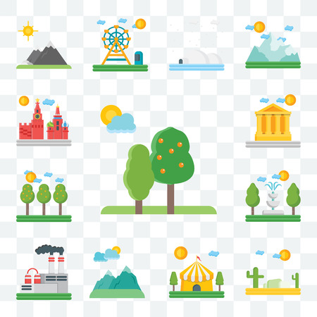 Set Of 13 transparent editable icons such as Trees, Desert, Circus, Mountains, Factory, Fountain, Field, Parthenon, Moscow, web ui icon pack