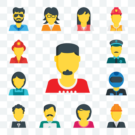 Set Of 13 transparent editable icons such as Man, Engineer, Woman, Hipster, Waiter, Racer, Clerk, Police, Fireman, web ui icon pack Illustration