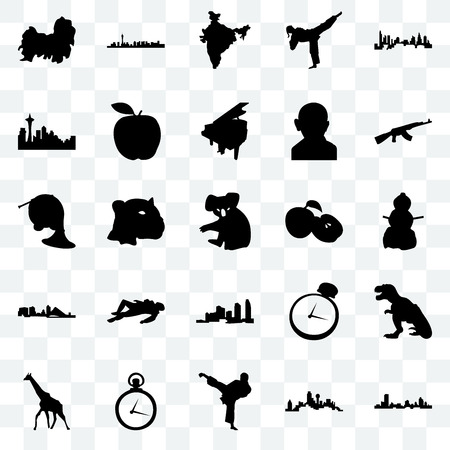 Set Of 25 transparent icons such as wisconsin, dallas, karate kick, pocket watch, giraffe, ak47, apple, long island, seattle, india map, las vegas, web UI transparency icon pack Ilustração