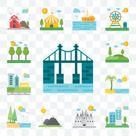 Set Of 13 transparent editable icons such as Bridge, City, Barcelona, Mountains, Lake, Beach, Park, Hills, Field, web ui icon pack