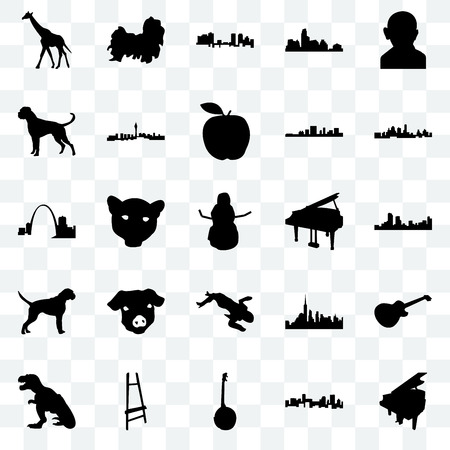 Set Of 25 transparent icons such as grand piano, denver, kansas city, shih tzu, t rex, las vegas, nyc, missouri, web UI transparency icon pack, pixel perfect