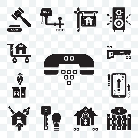 Set Of 13 transparent editable icons such as Hand phones, Picket, Security system, Door key, Reparation, Up, Invention, Hacksaw, Carrier, web ui icon pack