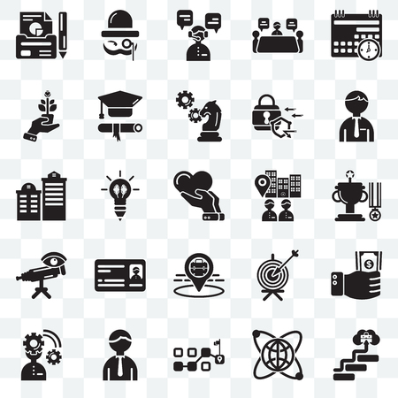 Set Of 25 transparent icons such as Career, Globe, Path, Worker, Planning, Visitor, Placeholder, Telescope, Growth, Customer support, Sir, web UI transparency icon pack