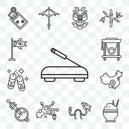 Set Of 13 transparent editable icons such as Incense, Rice, Dragon, Sakura, Music, China, Fireworks, Gong, Koinobori, web ui icon pack