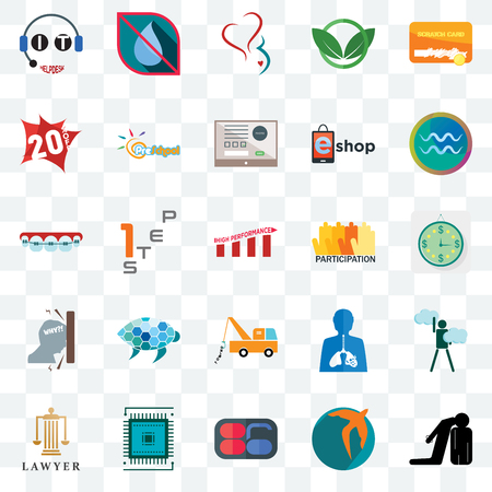 Set Of 25 transparent icons such as execution, swift, 86, sem, lawyer, aquarius, participation, tow truck, frustration, 20% off, gynecology, no water, web UI transparency icon pack