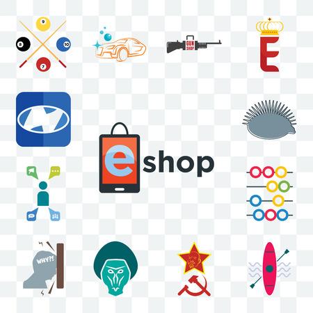 Set Of 13 transparent editable icons such as eshop, kayak, communism, baboon, frustration, abacus, campaign management, hedgehog, h, web ui icon pack