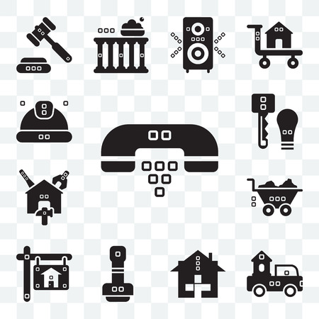 Set Of 13 transparent editable icons such as Hand phones, Trucks, Health care, Paper work, Real estate, Barrow, Reparation, Door key, Worker, web ui icon pack Illustration