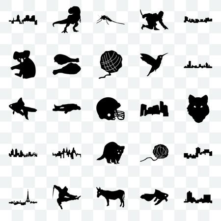 Set Of 25 transparent icons such as montana, goldfish, donkey, ninja, paris, wisconsin, minnesota, raccoon, london, koala, mosquito, t rex, web UI transparency icon pack