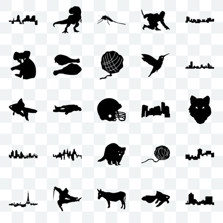 Set Of 25 transparent icons such as montana, goldfish, donkey, ninja, paris, wisconsin, minnesota, raccoon, london, koala, mosquito, t rex, web UI transparency icon pack