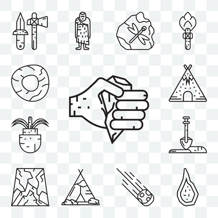 Set Of 13 transparent editable icons such as Axe, Weapon, Meteorite, Tipi, Cave, Shovel, Plant, Tent, Wheel, web ui icon pack Illustration