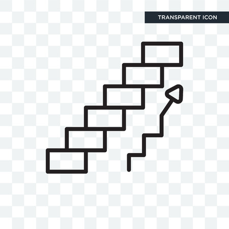 Ascending stairs vector icon isolated on transparent background