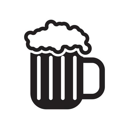 ウェブやモバイルアプリのデザインのために白い背景に分離されたビールアイコンベクターのパイント