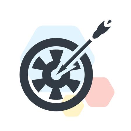 Vector icono de tablero de dardos aislado sobre fondo blanco para su diseño web y aplicaciones móviles, concepto de logo de tablero de dardos