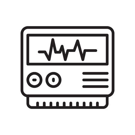 Elettrocardiogramma icona vettoriale isolato su sfondo bianco, segno trasparente elettrocardiogramma, linea o simbolo lineare e design del segno in stile del contorno
