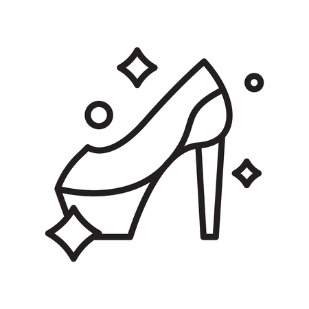 High heel icon vector isolated on white background, High heel transparent sign , line or linear symbol and sign design in outline style Ilustracja