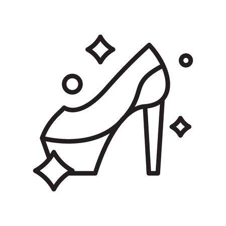 Vecteur d'icône de talon haut isolé sur fond blanc, signe transparent de talon haut, ligne ou symbole linéaire et conception de signe dans le style de contour Vecteurs