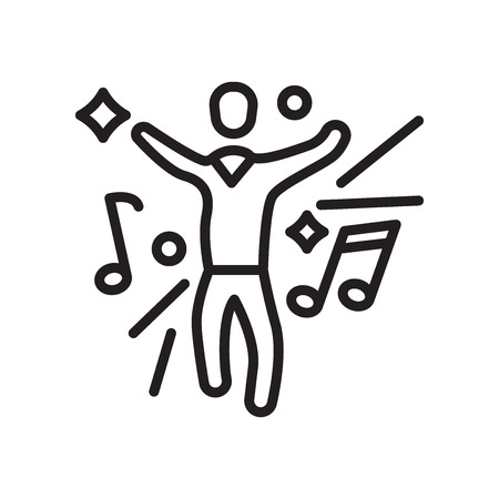 Dancing icon vector isolated on white background, Dancing transparent sign , line or linear symbol and sign design in outline style Illustration
