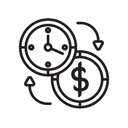 Time is money icon vector isolated on white background for your web and mobile app design Illustration