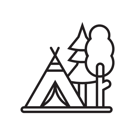 Tent icon vector isolated on white background for your web and mobile app design Vectores
