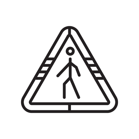 Street traffic triangular signal with a walker icon vector isolated on white background for your web and mobile app design Ilustração