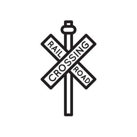Rail road crossing cross signal icon vector isolated on white background for your web and mobile app design Vector Illustration