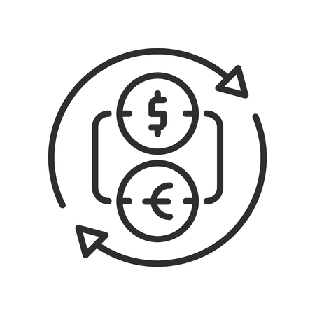 Currency Exchange icon vector isolated on white background for your web and mobile app design Иллюстрация