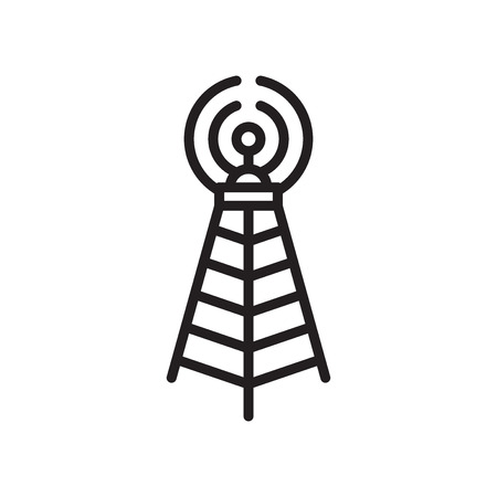 Broadcast communications tower icon vector isolated on white background for your web and mobile app design, Broadcast communications tower logo concept