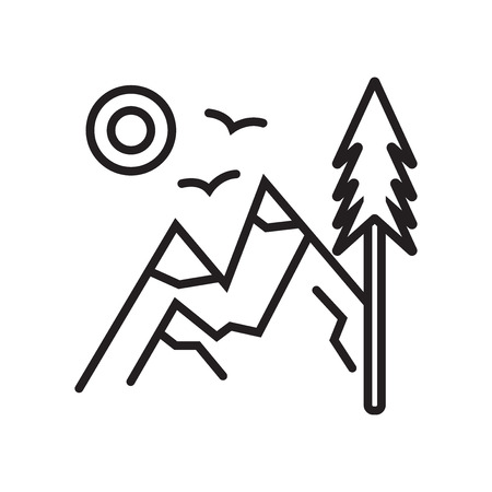 Mountain icon vector isolated on white background for your web and mobile app design, Mountain logo concept