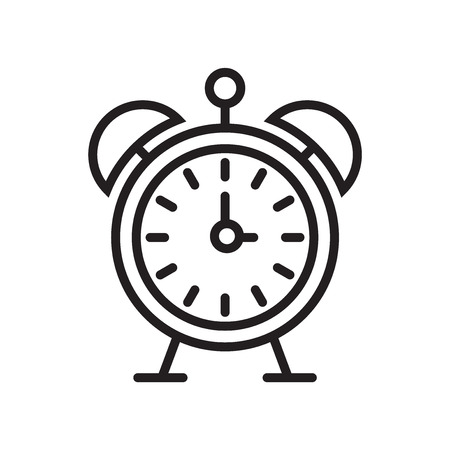 Alarm clock icon vector isolated on white background for your web and mobile app design, Alarm clock logo concept