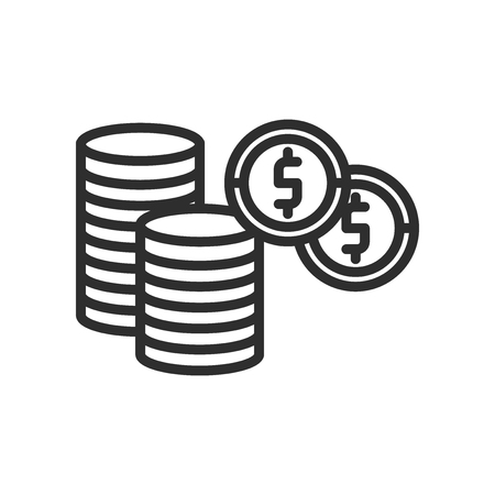 Dollar Coins Stack icon vector isolated on white background for your web and mobile app design