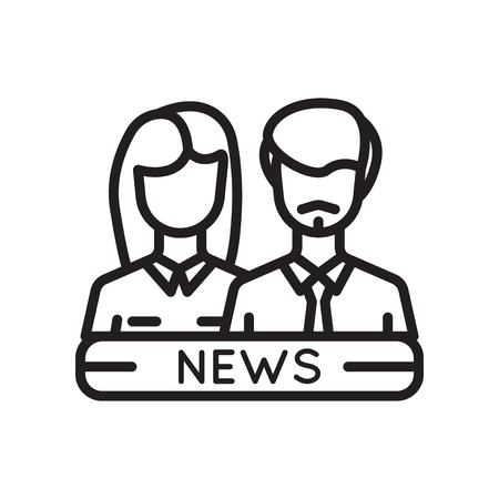 News Reporters icon vector isolated on white background for your web and mobile app design Vectores
