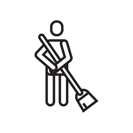 Brooming icon vector isolated on white background for your web and mobile app design, Brooming logo concept