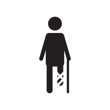 Broken leg icon vector isolated on white background for your web and mobile app design, Broken leg logo concept