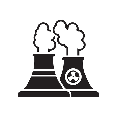 Nuclear plant icon vector isolated on white background for your web and mobile app design, Nuclear plant logo concept