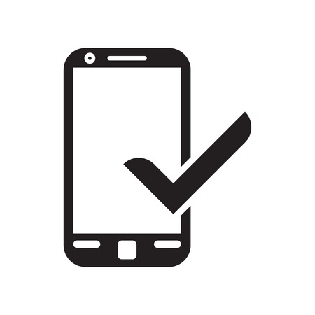 Smartphone and Check mark icon vector isolated on white background for your web and mobile app design, Smartphone and Check mark logo concept 向量圖像