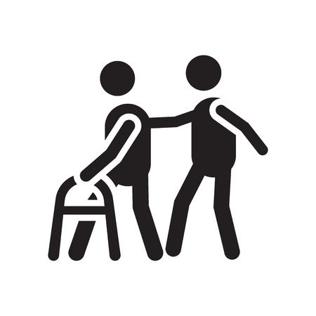 Walker-Ikonenvektor lokalisiert auf weißem Hintergrund für Ihr Web- und mobile App-Design, Walker-Logo-Konzept