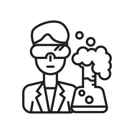 Naukowiec wektor ikona na białym tle na białym tle do projektowania aplikacji internetowych i mobilnych, koncepcja logo naukowca Logo