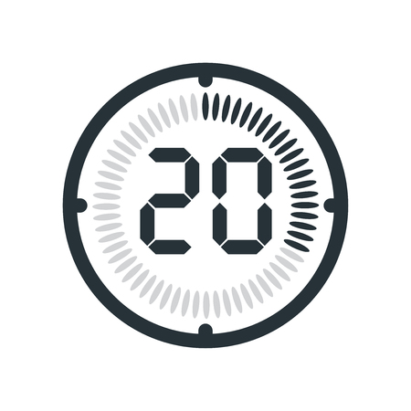 The 20 minutes icon isolated on white background, clock and watch, timer, countdown symbol, stopwatch, digital timer vector icon Stock Illustratie