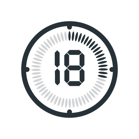 The 18 minutes icon isolated on white background, clock and watch, timer, countdown symbol, stopwatch, digital timer vector icon