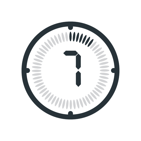 The 7 minutes icon isolated on white background, clock and watch, timer, countdown symbol, stopwatch, digital timer vector icon Illustration