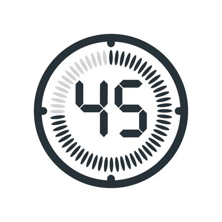 Ikona 45 minut na białym tle, zegar i zegarek, minutnik, symbol odliczania, stoper, ikona wektora cyfrowego timera