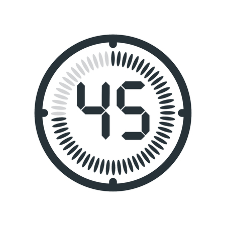 The 45 minutes icon isolated on white background, clock and watch, timer, countdown symbol, stopwatch, digital timer vector icon