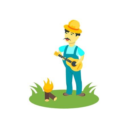 Gitarrenspieler-Symbolvektor lokalisiert auf weißem Hintergrund für Ihr Web- und mobiles App-Design, Gitarrenspieler-Logo-Konzept
