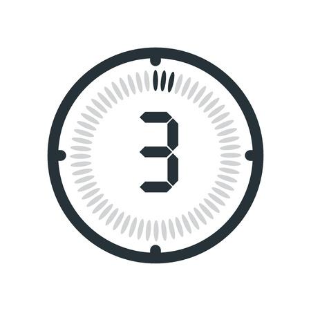 Ikona 3 minuty na białym tle, zegar i zegarek, zegar, symbol odliczania, stoper, ikona wektora cyfrowego timera