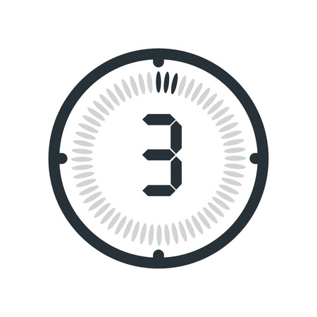 The 3 minutes icon isolated on white background, clock and watch, timer, countdown symbol, stopwatch, digital timer vector icon