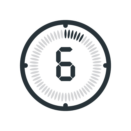 The 6 minutes icon isolated on white background, clock and watch, timer, countdown symbol, stopwatch, digital timer vector icon Ilustração